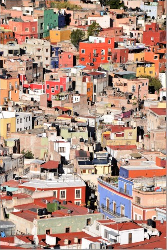 Plakat Colorful houses view of mexican city Guanajuato