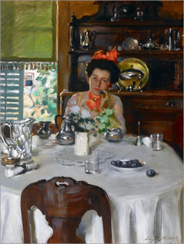 Plakat Woman at a table