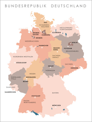 Plakat Federal states and capital cities of the federal republic of Germany