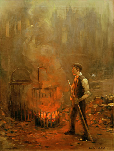 Plakat Worker at the coal stove