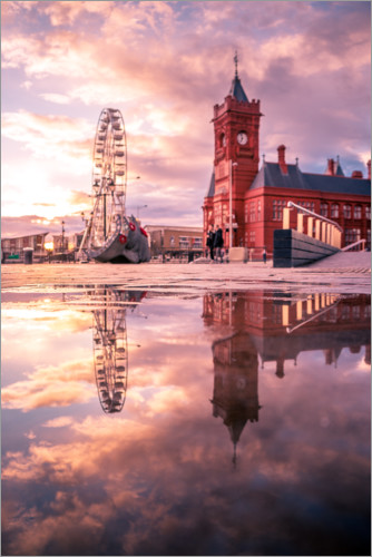 Plakat City Hall in Cardiff at sunset