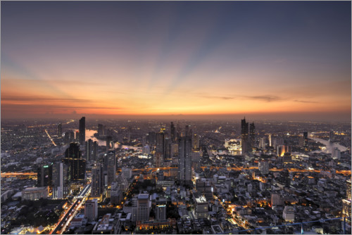 Plakat Bangkok skyline in the sunset