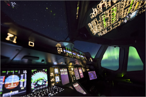 Plakat Airbus A380 cockpit with polar lights