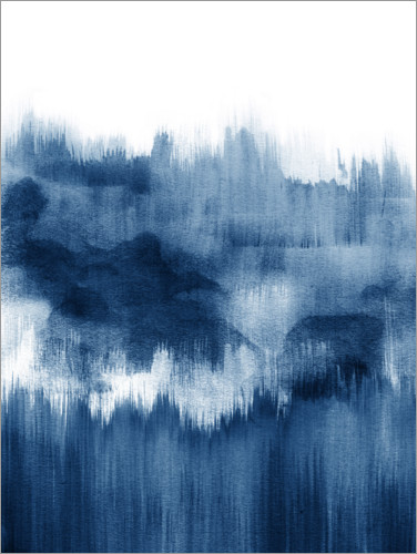 Plakat Ink mountains in blue