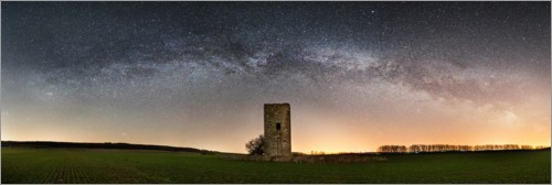 Plakat Milky way with medieval tower