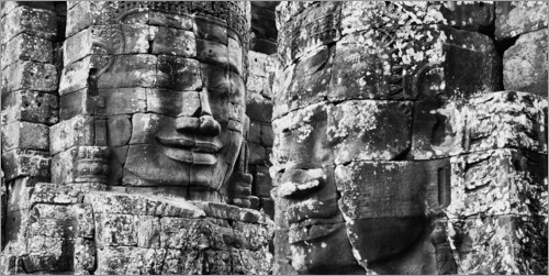 Plakat Stone faces in Bayon Temple, Cambodia