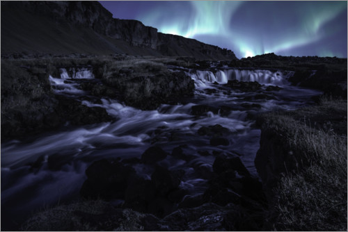 Plakat Northern lights at the waterfall, Iceland