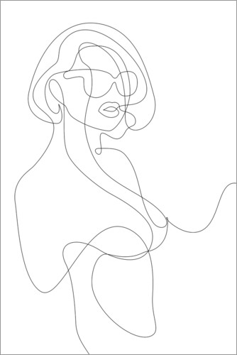 Plakat Woman with sunglasses - lineart