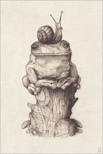 Plakat The frog and the snail, vintage