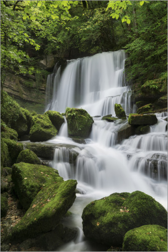 Plakat Waterfall on the rock slope, France