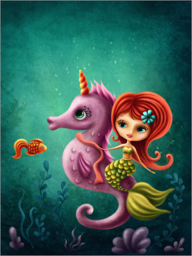 Plakat Mermaid with a seahorse
