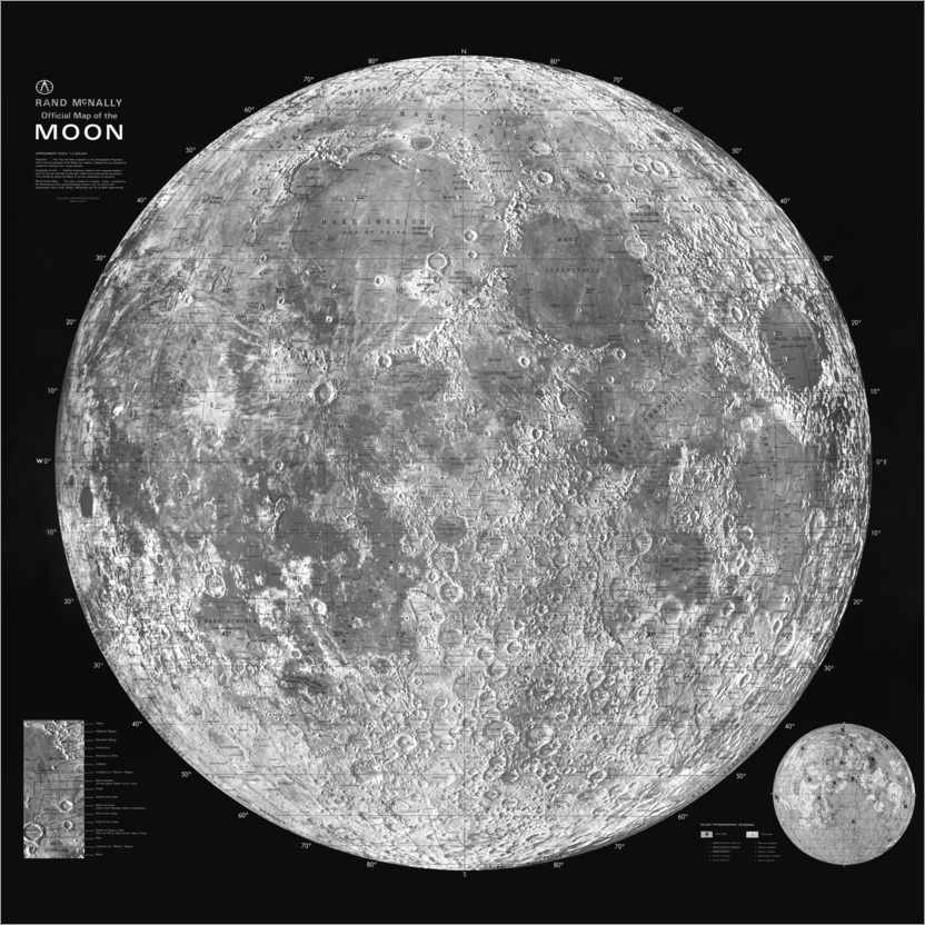 Plakat Moon map, black and white