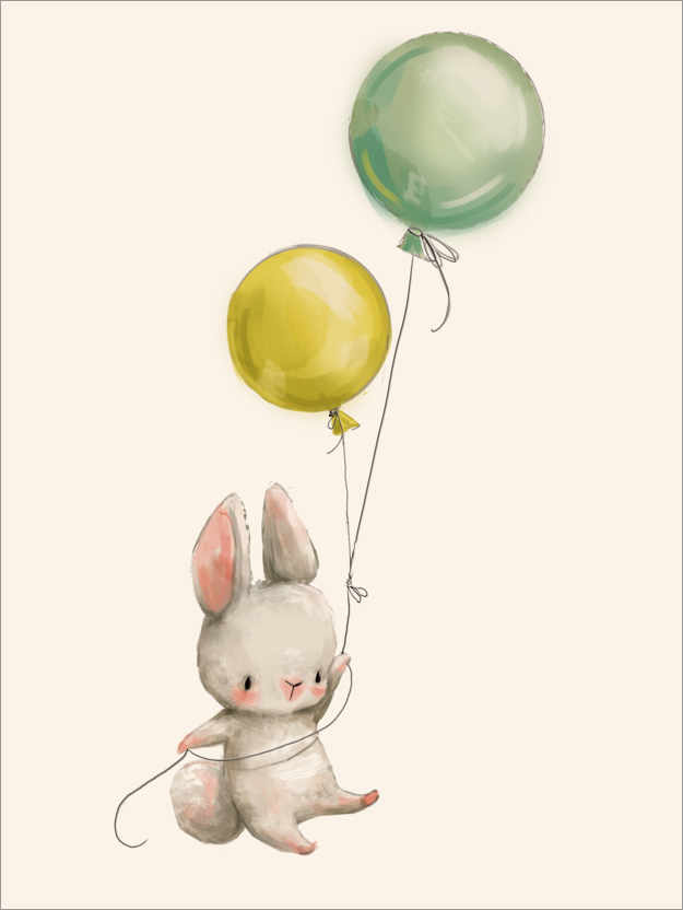 Plakat Bunny with balloons