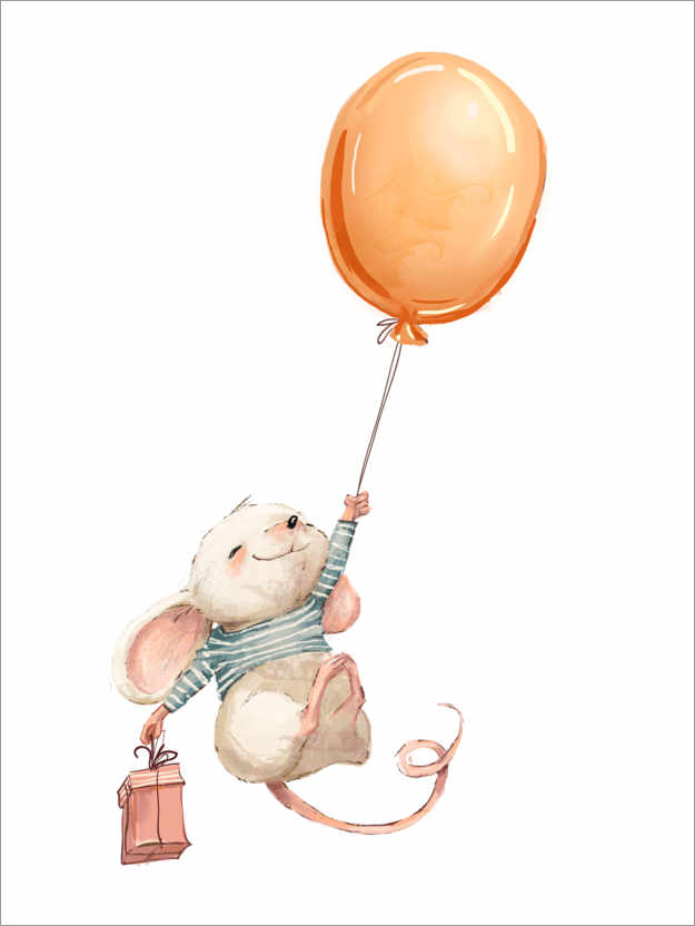 Plakat Mouse with balloon