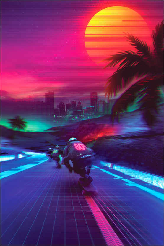 Plakat Synthwave Midnight Outrun