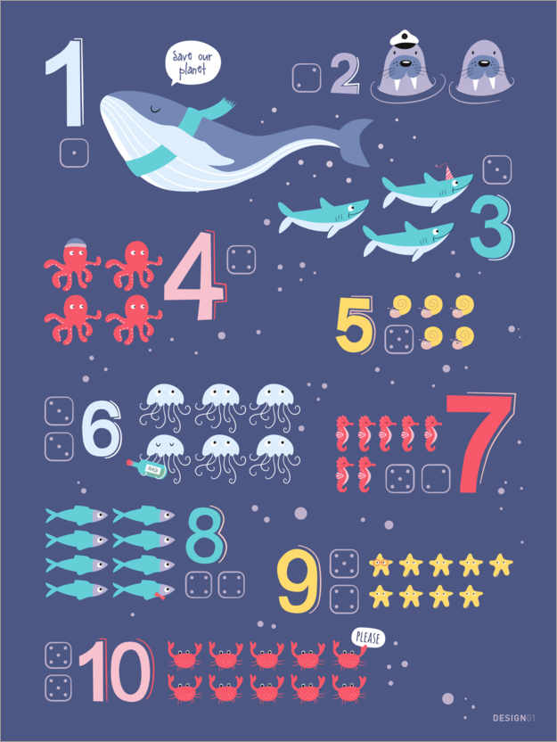 Plakat Counting numbers with marine animals