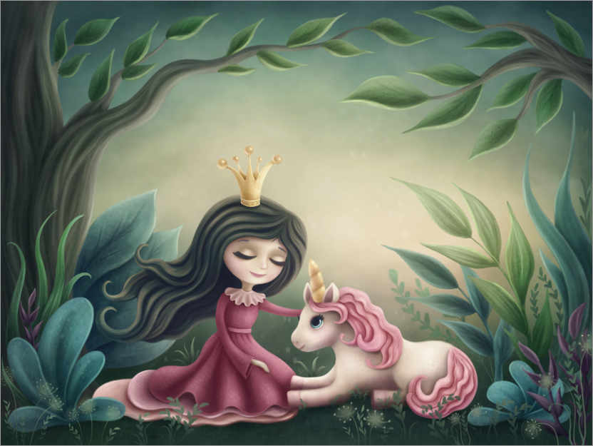 Plakat Princess with unicorn in the magic forest