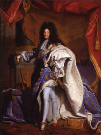 Obraz na drewnie  Louis XIV in Royal Costume - Hyacinthe Rigaud
