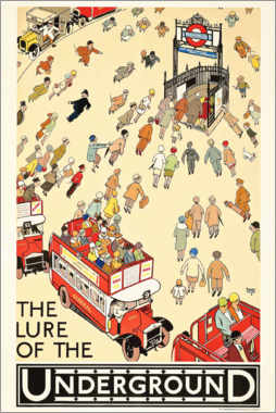 Obraz na drewnie  The Lure of the underground - Alfred Leete