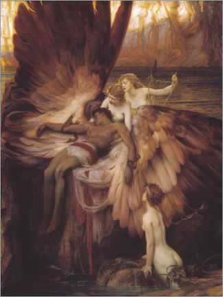 Obraz na drewnie  Mourning for Icarus - Herbert James Draper