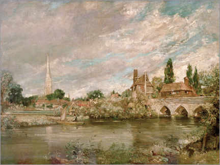 Obraz na aluminium  Harnham Bridge and Salisbury Cathedral - John Constable