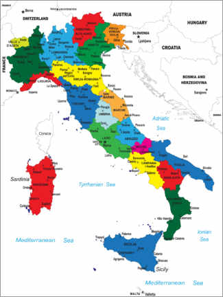 Obraz na drewnie  Italy - Political Map