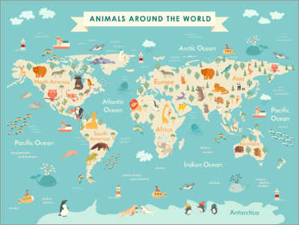 Obraz na aluminium  World map with animals (English) - Kidz Collection