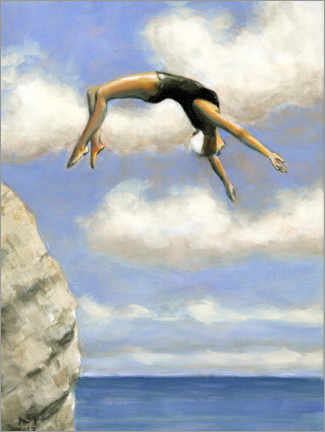 Obraz na drewnie  Jumping from a rock - Sarah Morrissette