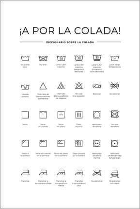 Naklejka na ścianę  Washing and care symbols (Spanish)
