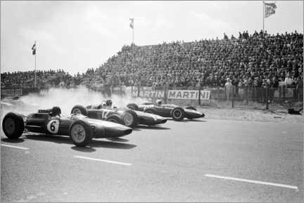 Obraz na płótnie  Jim Clark, Graham Hill and Bruce McLaren at the start, Zandvoort 1963