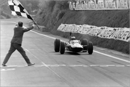 Obraz na płótnie  Jim Clark takes the chequered flag, French GP 1965