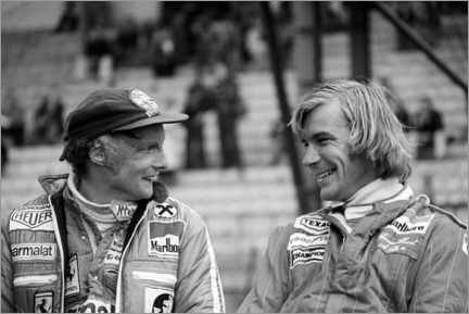 Obraz na aluminium  Niki Lauda and James Hunt, Formula 1 GP, Belgium 1977