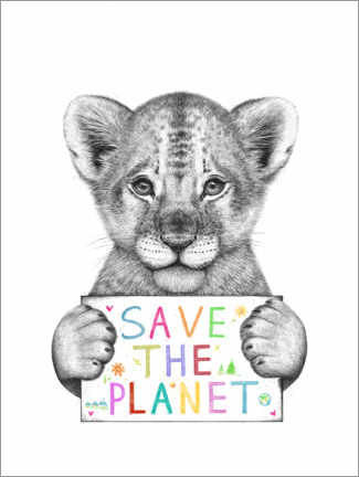 Obraz na drewnie  Lion cub save the planet - Valeriya Korenkova