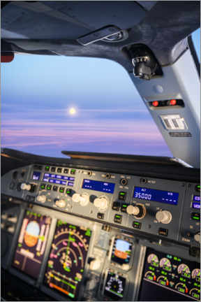 Plakat Airbus A380 cockpit with rising moon