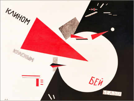 Obraz na aluminium  Hit the whites with the red wedge - El Lissitzky