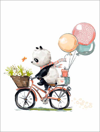 Obraz na drewnie  Panda on a bike - Kidz Collection