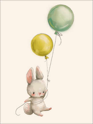 Obraz na drewnie  Bunny with balloons - Kidz Collection
