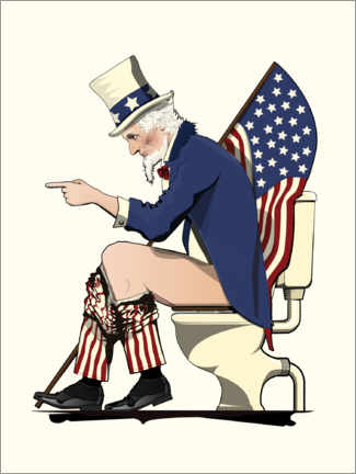Plakat Uncle Sam on the toilet