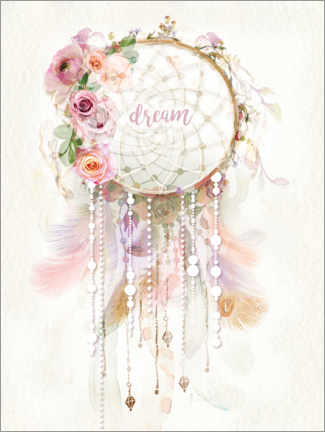 Obraz na drewnie  Rosé dream catcher - Lara Skinner