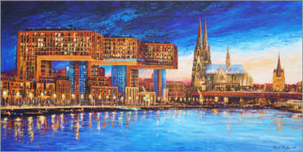 Obraz na drewnie  Cologne crane houses at night - Renate Berghaus