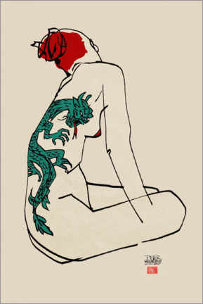 Plakat  Nude with dragon tattoo - Pieter Hogenbirk