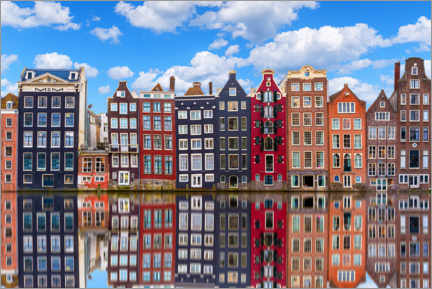 Plakat Houses are reflected on the canal, Amsterdam