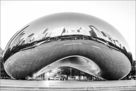 Obraz na płótnie  Chicago Cloud Gate, black and white - HADYPHOTO