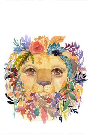 Plakat Lion with flowers