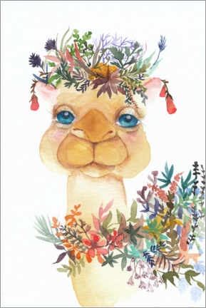 Plakat Camel with flowers