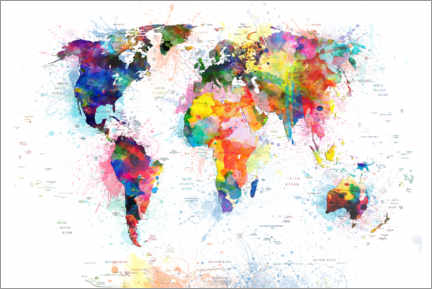 Gallery print  World map political watercolor - Bekim Mehovic