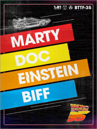 Plakat  Marty, Doc, Einstein, Biff