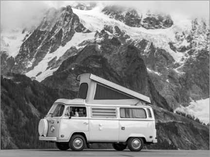 Gallery print  Camping bus in front of a mountain landscape - Moritz Wolf