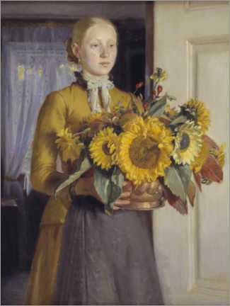 Obraz na szkle akrylowym  The girl with the sunflowers - Michael Peter Ancher