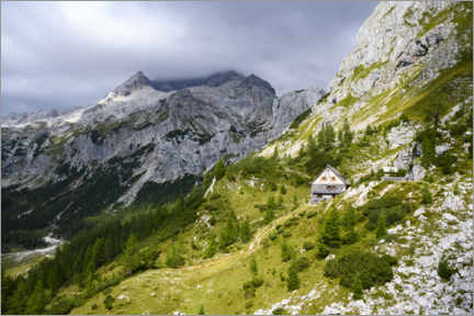 Obraz na drewnie  Mountain hut at Triglav, Slovenia - Ulrich Beinert